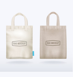 Two canvas mockup realistic shopping bags vector