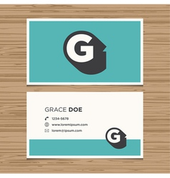 business card letter G vector image