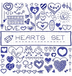 Hand drawn set of hearts and arrows blue pen vector