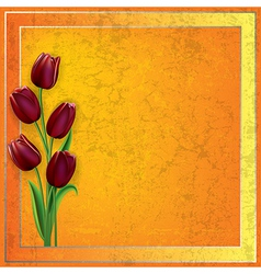 Abstract grunge yellow background with red tulips vector