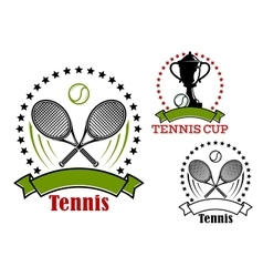 Tennis emblems with balls rackets and cup vector