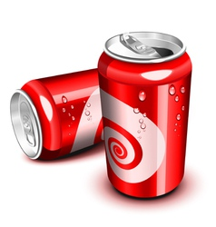Opened and closed red cola can vector