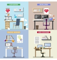 Design concept for working places set of vector