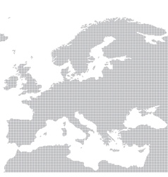 Grey map of europe in the dot vector