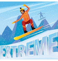 Man jumping from the mountain on a snowboard vector