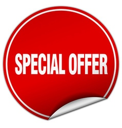 Special offer round red sticker isolated on white vector