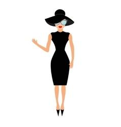 Woman in black elegant hat and sunglasses waving vector