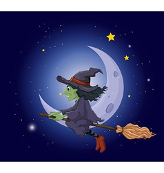 A witch riding on a broomstick floating near the vector image