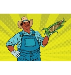 African american farmer with corn on the cob vector