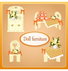 Beige doll furniture four objects vector