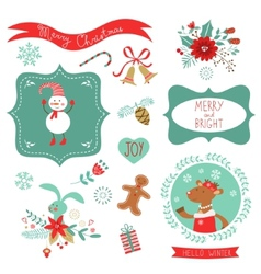 Christmas cute graphic elements vector image