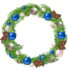 Christmas Wreath with Decorations and Pine vector image