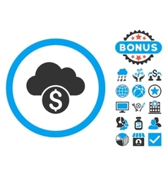 Cloud Banking Flat Icon with Bonus vector image vector image