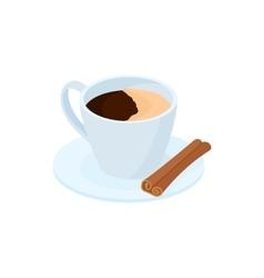 Coffee with cinnamon stick icon cartoon style vector image
