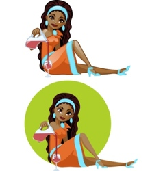 Cute young African American woman in cocktail vector image