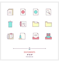 Documents Line Icons Set vector image vector image