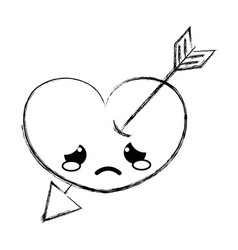 Figure crying heart with arrow kawaii character vector