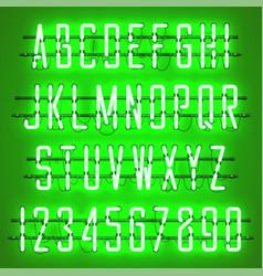 Glowing green neon casual script font vector