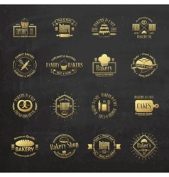 Gold vintage bakery badges labels and logos vector image