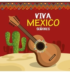 guitar and cactus of mexico icons design vector image