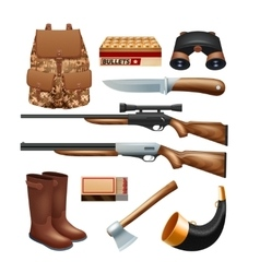 Hunting tackle and equipment icons set vector