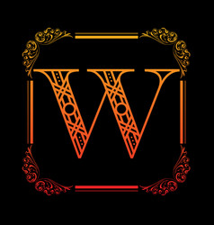 letter w with ornament vector image vector image