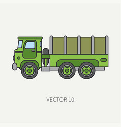 Line flat color icon tarpaulin wagon army vector