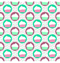 mint and violet cakes pattern vector image vector image