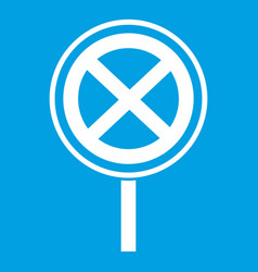 No stopping and parking sign icon white vector