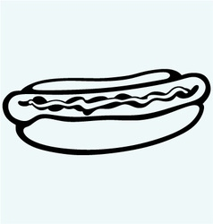 Old-fashioned hot dog with sausage vector image vector image