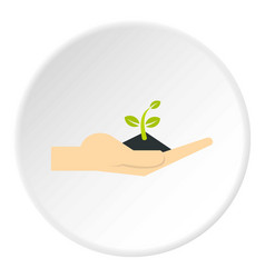Plant in hand icon circle vector