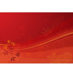 red background with waves and leafs vector image vector image