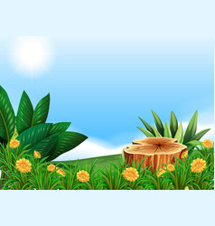 Scene with stump tree in flower field vector
