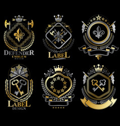 Set of retro vintage insignias created with vector
