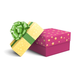 Yellow and violet pink celebration gift boxes with vector