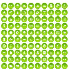 100 water recreation icons set green circle vector