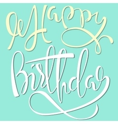 Happy birthday white and yellow lettering on mint vector