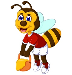 Funny bee cartoon carrying honey vector