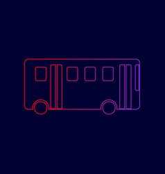 Bus simple sign  line icon with gradient vector