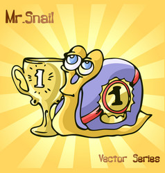 Mr snail with cup vector