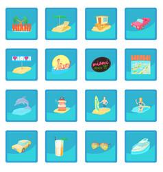 Miami travel icon blue app vector