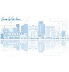 Outline san salvador skyline with blue buildings vector