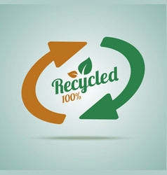 Recycled sign for organic products vector