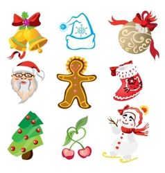 set of christmas icons in cartoon style vector image