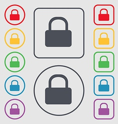Pad lock icon sign symbol on the round and square vector