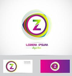 Letter Z circle logo pink green vector image
