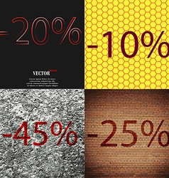 10 45 25 icon set of percent discount on abstract vector