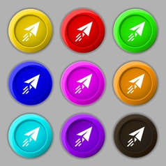 Paper airplane icon sign symbol on nine round vector