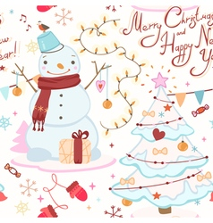 Cute christmas pattern with snowman christmas tree vector