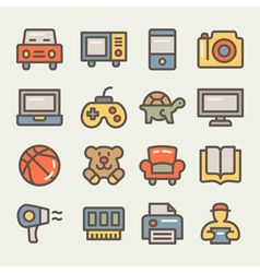 Mall lines colored icons vector
